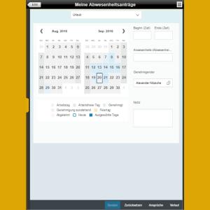 "Fiori App ""Meine Abwesenheitsanträge"" Tablet"