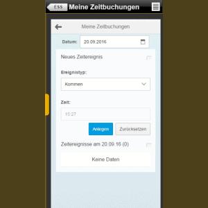 "Fiori App ""Meine Zeitbuchungen"" mobil"