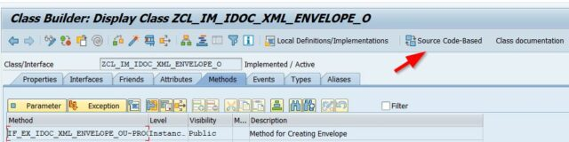 navigate from the interface to the custom BAdI ZIDOC_XML_ENVELOPE_O